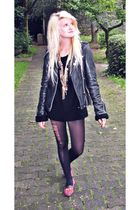 black Maje jacket - black Mum made me it  jumper - red Urban Outfitters shoes
