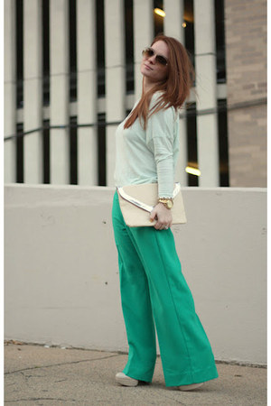 wide leg Forever 21 pants - mint green Zara shirt - asos bag - Guess heels