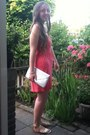 Salmon-primark-dress-white-primark-bag-gold-h-m-sandals