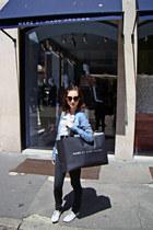blue Bershka shirt - periwinkle shoes - dark gray Stradivarius leggings