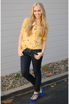 mustard apple print Sprightly So blouse