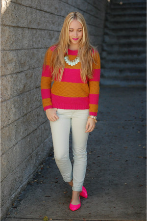 hot pink stripes Loft sweater - aquamarine Loft pants