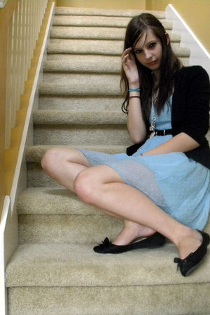 blue dress - black merona cardigan - black shoes
