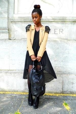 blazer - dress - bag - wedges - ring