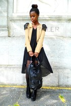 blazer - dress - bag - wedges - ring
