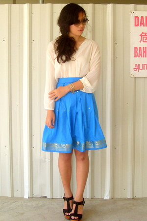 blue sari cloth DIY skirt - cream chiffon H&M top