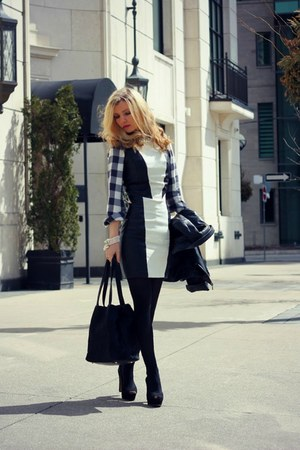 H&amp;M dress - danier jacket - Old Navy shirt - DKNY bag - Zara heels