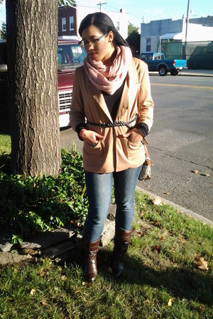 brown Nordstrom boots - cream Forever 21 blazer - light pink H&M scarf - purse