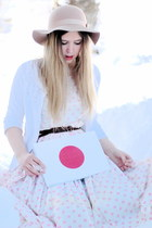 beige floppy Monki hat - white 50s vintage dress - white H&M cardigan