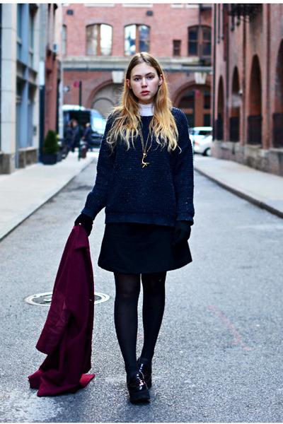 navy boxy Topshop sweater - black platform Office shoes