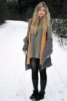 orange Monki vest - army green daddys vintage sweater