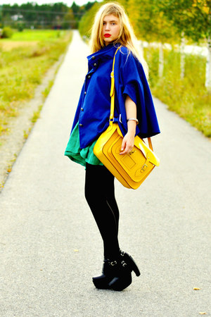 yellow satchel romwe bag - black platform Modekungen boots