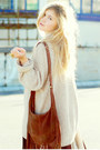 Beige-knitted-dads-sweater-brown-fringed-lindex-bag
