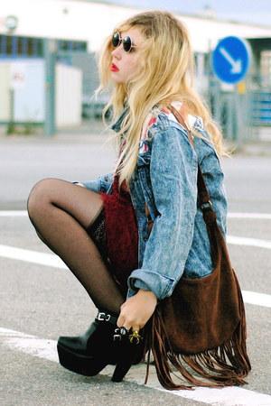 dark brown fringe lindex bag - black Modekungen boots