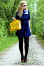 Navy-vintage-doortje-vintage-dress-yellow-satchel-romwe-bag