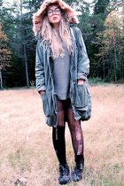 green H&M jacket - green second hand sweater - black second hand boots