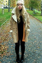 white BikBok coat - pink BikBok hat - black thrifted boots