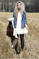 beige sheepskin Bik Bok coat - white lace Monki dress - blue denim Levis jacket