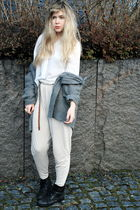 gray frk cardigan - black thrifted boots - beige H&M pants - white H&M shirt