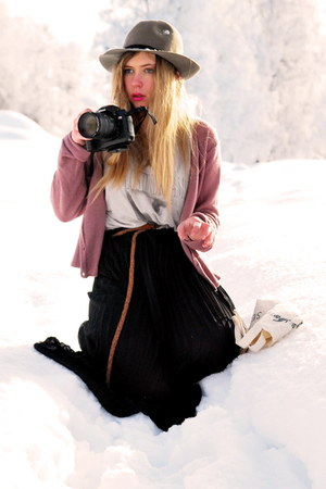 black sheer Bik Bok skirt - silver H&M top - pink Monki cardigan - black camera