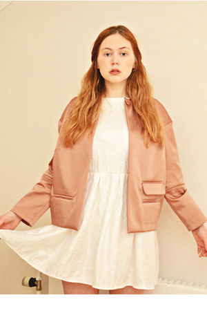 white Topshop dress - light pink structured & other stories jacket