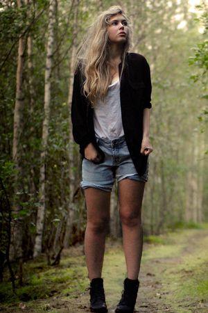 black transparent Monki shirt - black boots vintage second hand shoes
