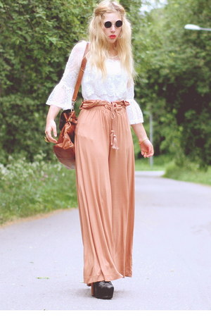 light orange palazzo H&amp;M pants - white worn as top Ida Sjstedt dress