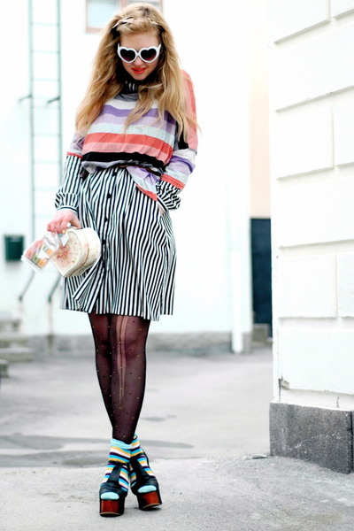 H&M sweater - black foxy Jeffrey Campbell shoes - striped frk dress