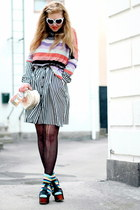 black foxy Jeffrey Campbell shoes - striped frk dress - H&M sweater - turquoise
