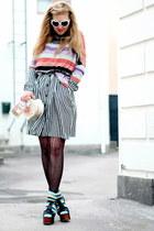 H&M sweater - black foxy Jeffrey Campbell shoes - striped frk dress