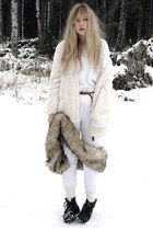 white Bik Bok cardigan - brown vintage scarf