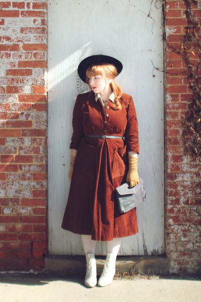 dark brown corduroy vintage dress - ivory victorian vintage from etsy boots
