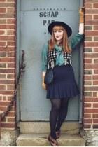 brown leather vintage from etsy shoes - black vintage hat - teal plaid vintage b