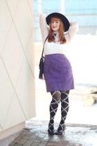 black vintage hat - ivory lace vintage from etsy blouse - deep purple suede thri