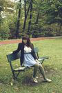 Blue-thrifted-dress-white-thrifted-blouse-gray-thrifted-belt-green-target-
