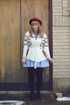 brick red bowler vintage hat - light blue chambray thrifted skirt - heather gray