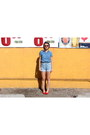 Sky-blue-thrifted-vintage-shirt-light-blue-vintage-guess-shorts