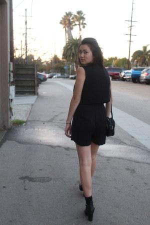 black asos boots - black thrifted vintage romper