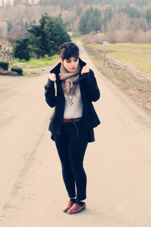 black thrifted coat - blue Forever 21 shirt - beige Heritage 1981 scarf - black 
