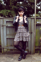 black Forever 21 jacket - brown H&M dress - black Urban Outfitters boots