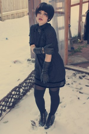 black Lux dress - black na gloves - black over the knee socks socks - black Deen