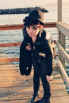 black Urban Outfitters jacket - black Forever 21 dress - black Urban Outfitters