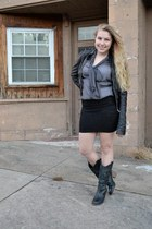 black leather H&M jacket - black cowboy Aldo boots - heather gray sheer top