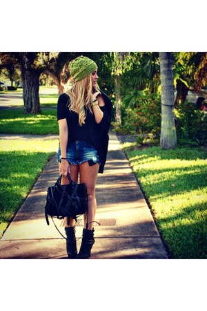 Urban Outfitters hat - sam edelman boots - Alexander Wang bag - Zara shorts
