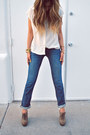 Navy-denim-jeans-doctrine-denim-jeans-ivory-silk-flowy-forever21-blouse