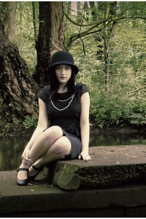 black H&M dress - black Target hat - white H&M necklace - black Urban Outfitters