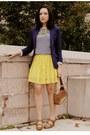 Navy-h-m-blazer-yellow-forever-21-skirt-white-rodarte-for-target-blouse