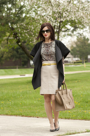 light brown Jcrew sweater - black calvin klein jacket - camel Celine purse
