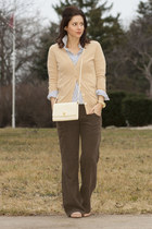 peach viv flats J Crew shoes - sky blue J Crew shirt - off white Givenchy purse