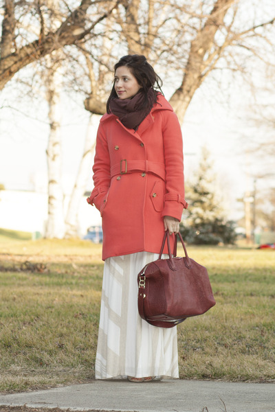 salmon J Crew coat - brick red magaschoni scarf - maroon Givenchy purse